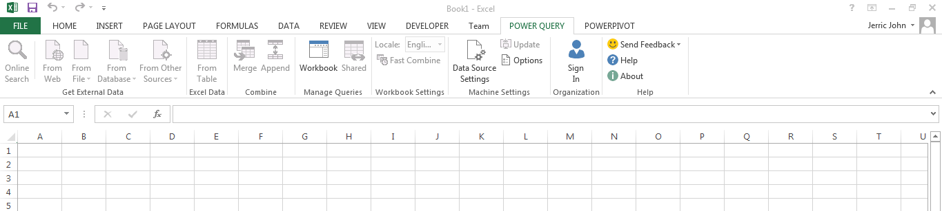 Diabled Power Query Add-In for Excel 2013