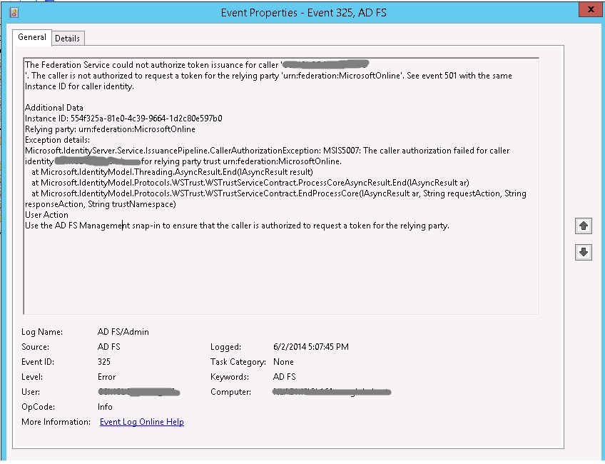 AD FS 2012 R2 / Error when doing a search on Hybrid environment in