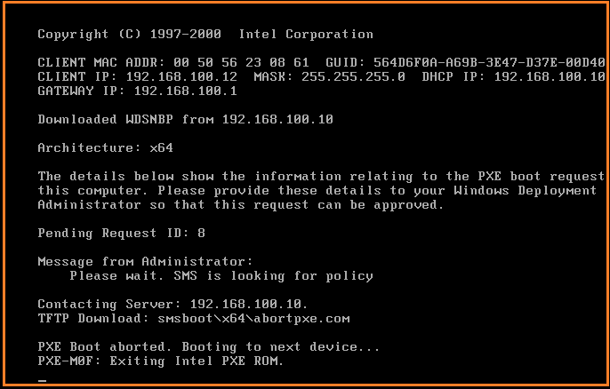 Wds Pxe Boot Aborted