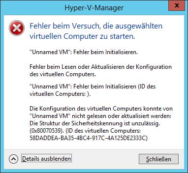 Unnames VM: Fehler beim Initialisieren