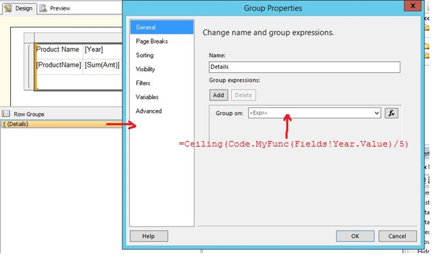 Add page break at Column Level in RDLC Report