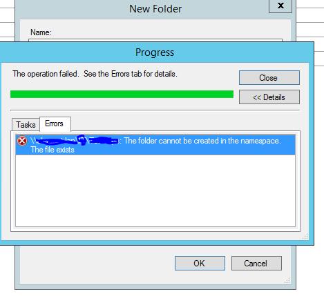 DFS Namespace Folder creation error: File Already Exists