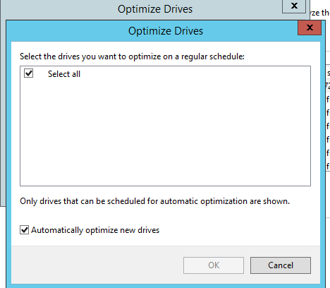 Optimize Drives : only select all is available