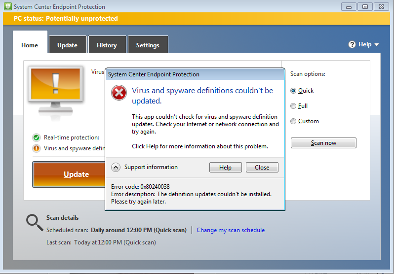 Unable to update System center Endpoint protection