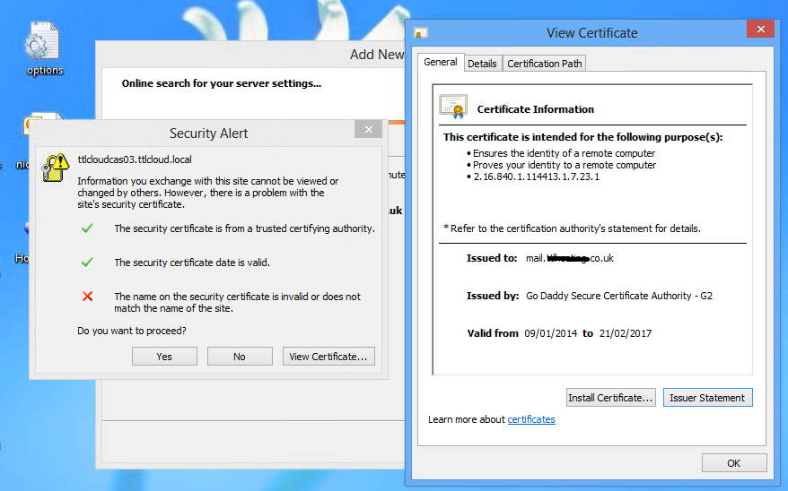 Exchange 2013 Certificate Issue