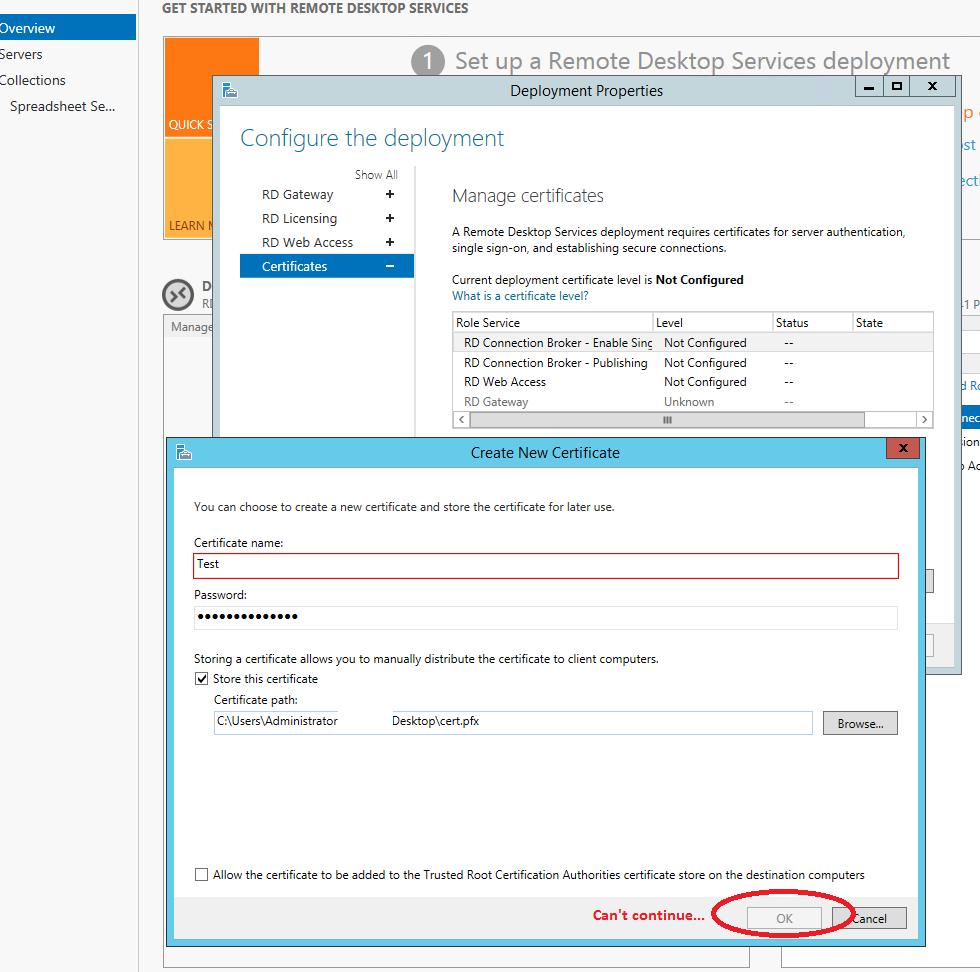 Configure Remote Desktop Services Certificates