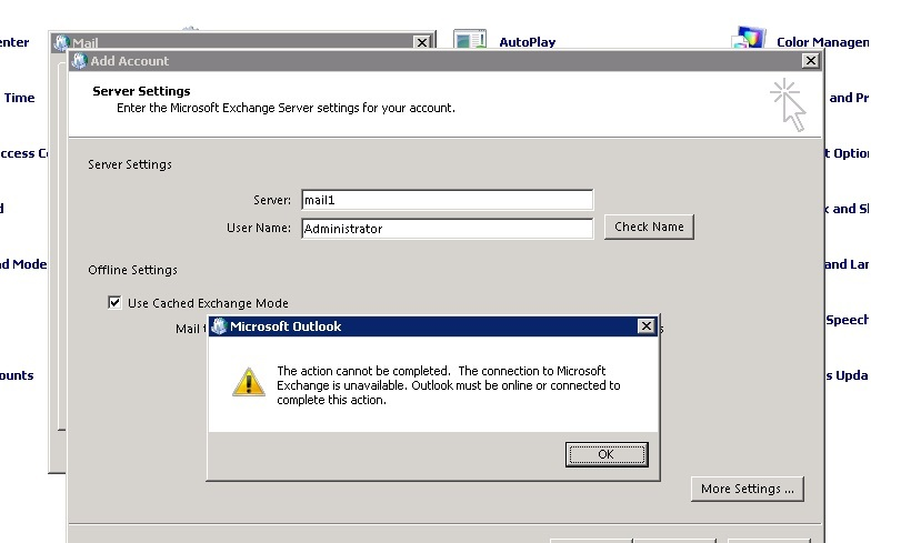 how to connect outlook 2010 to exchange server 2007