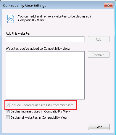 Include updated website lists from Microsoft - Not greyed out
