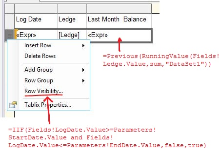 How to calculate begining balance in SSRS