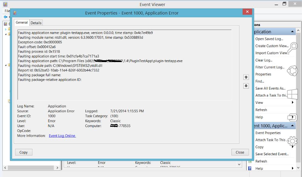 Exception code 0xc0000005