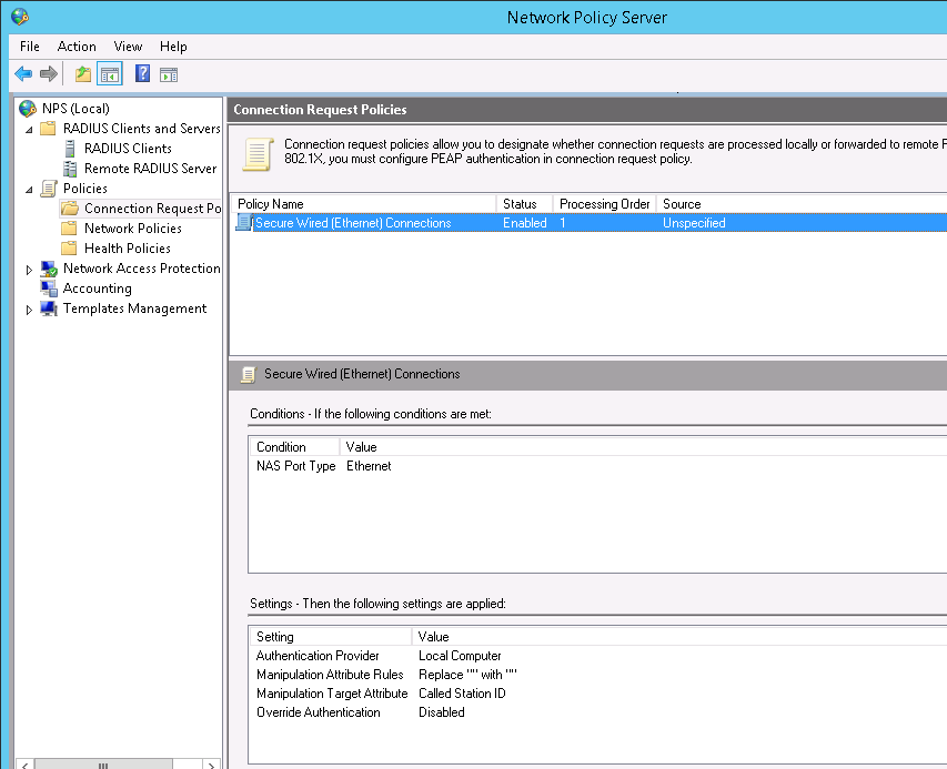 HP Procurve 5412zl with Windows 2012 Radius NPS
