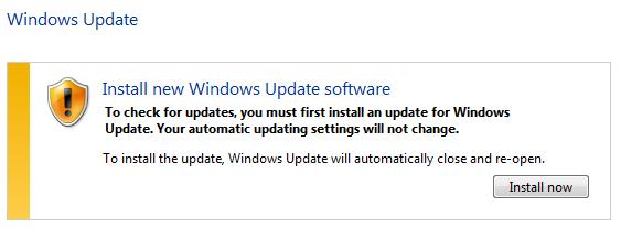 Windows update requesting to install Windows Update Agent