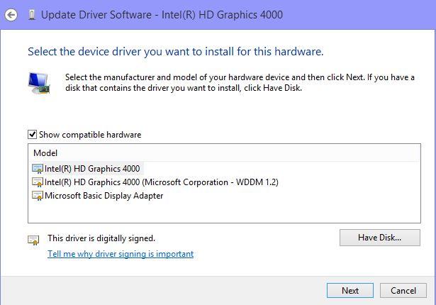 microsoft basic display adapter update for windows 8.1
