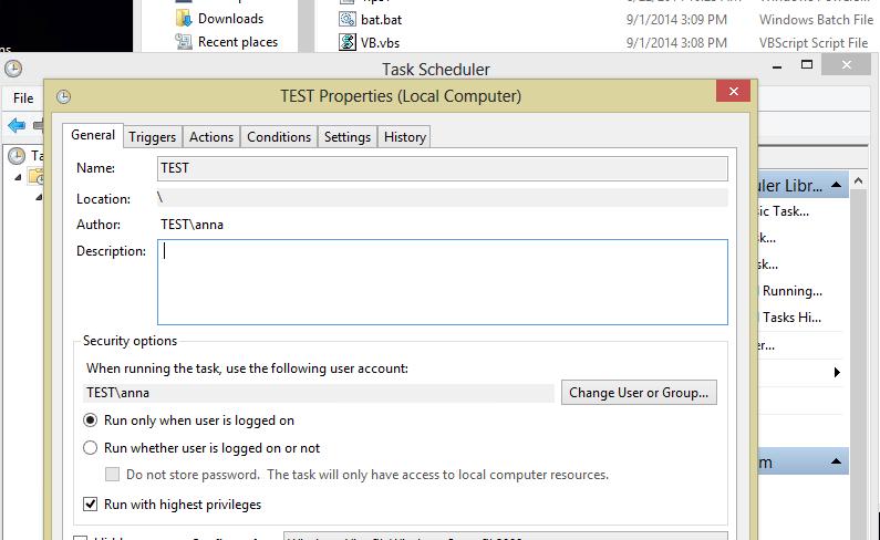 VB script does not run via Task Scheduler