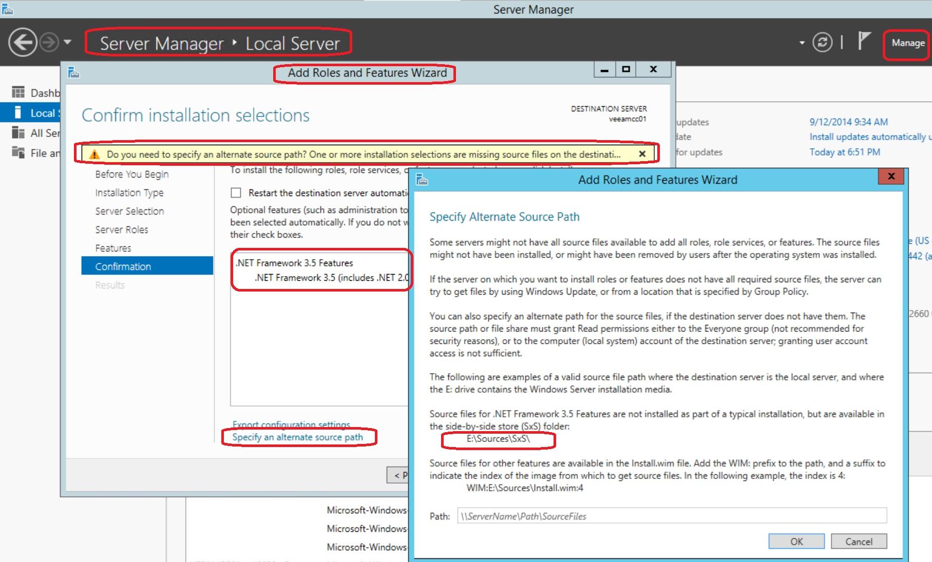 Persistent problem when installing  Net Framework 3 5 in