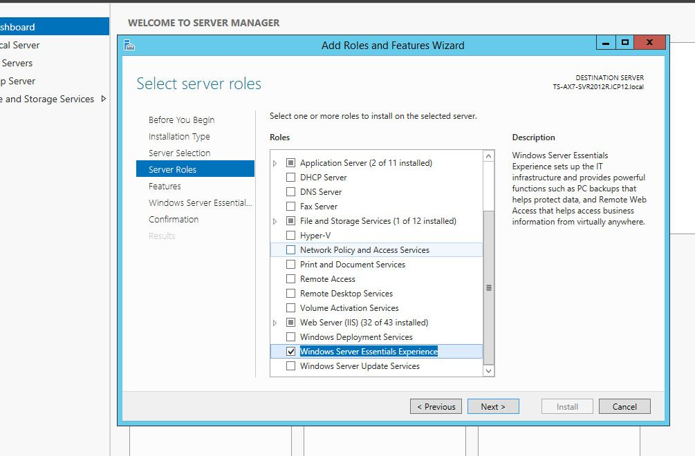 Add Essentials role to Server 2012 R2 Standard or Datacenter