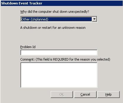 Afbeeldingsresultaat voor shutdown event tracker