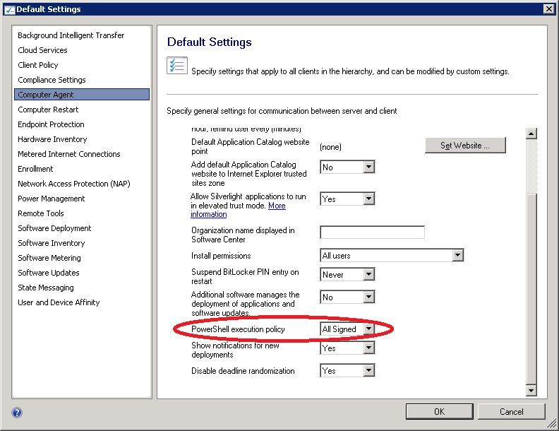 SCCM 2012: enable powershell execution policy for SCCM 2012