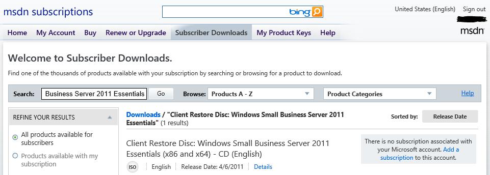 microsoft subscriber downloads technet