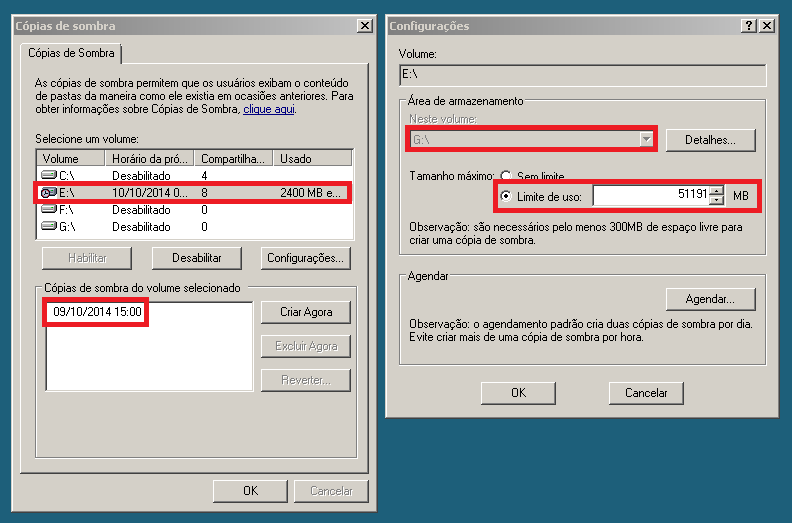 Configurações no Shadow Copy