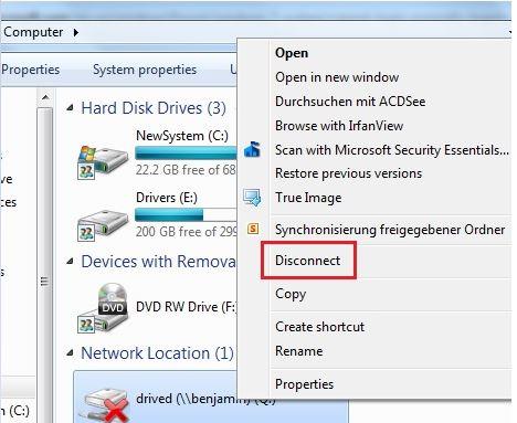 removing network location windows 10