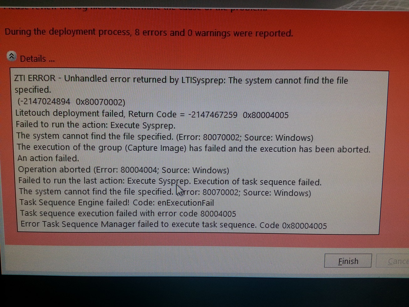 Unhandled error returned by LTIsysprep: The system cannot