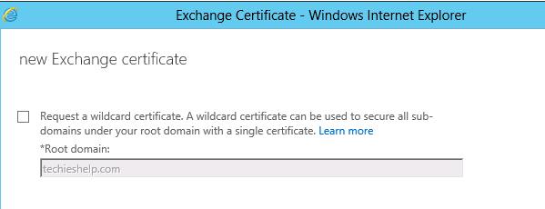 Wildcard certificate for Exchange 2013