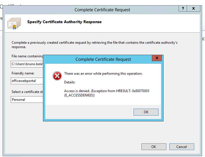 Install Certificate error