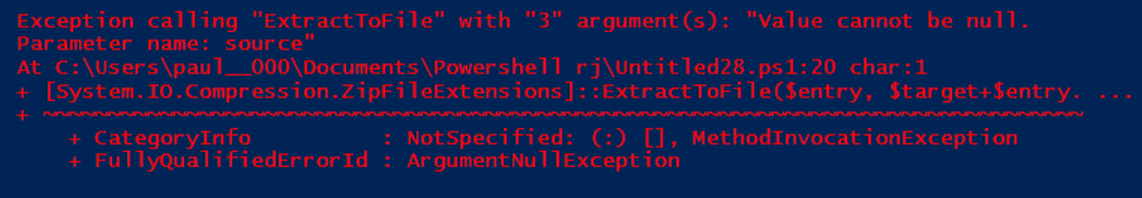 Unzipping nested files in powershell