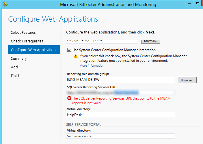 The SQL Server Reporting Services URL that points to the MBAM