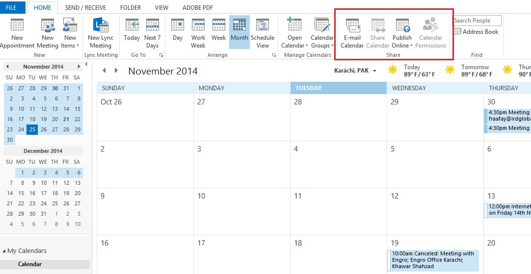 can i share calendar without exchange account in outlook 2013