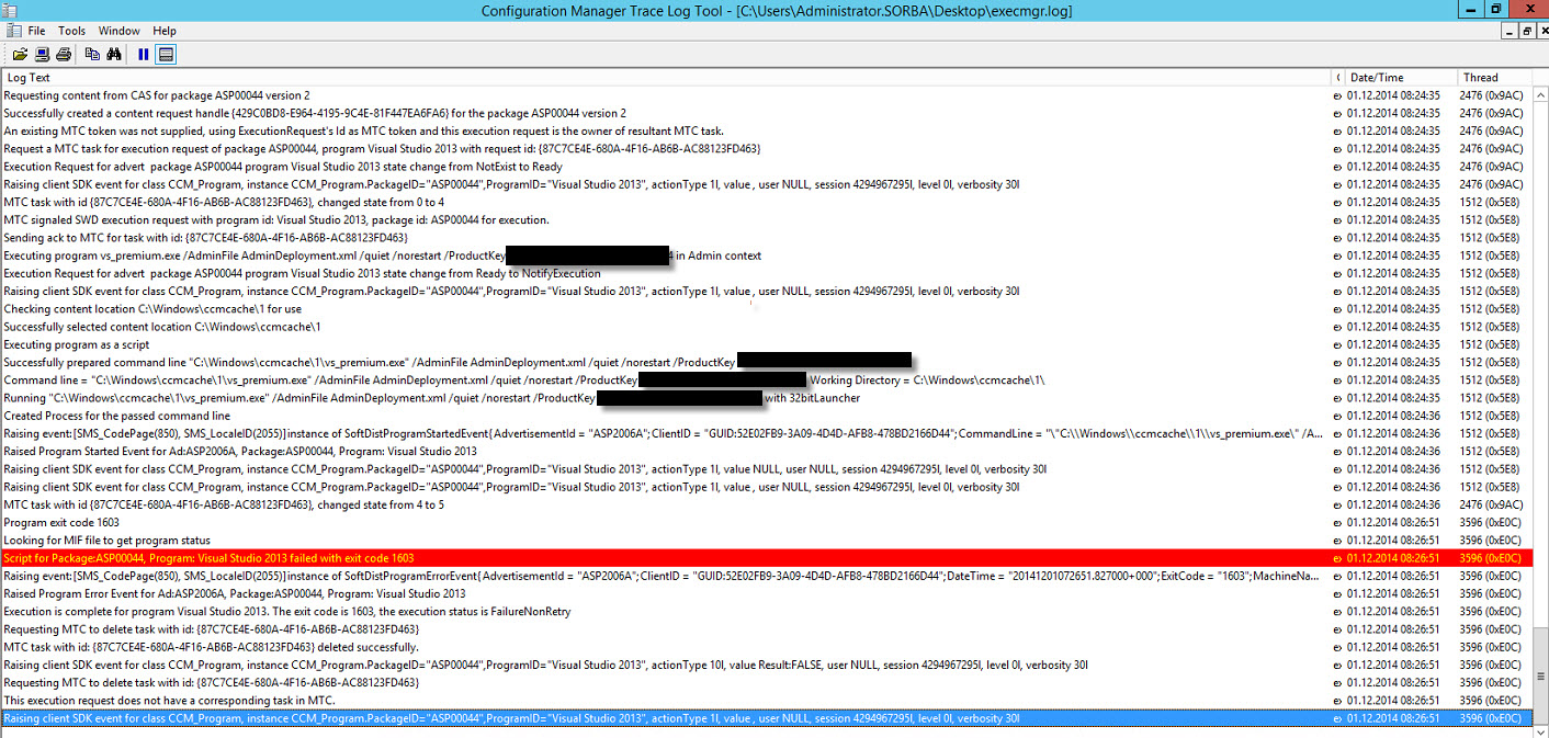 Visual Studio 2013 Deployment failed with exit code 1603