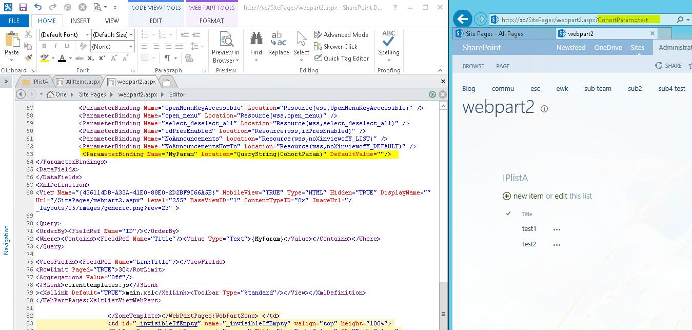 Cannot get URL web part filter to pass Parameter to List web part