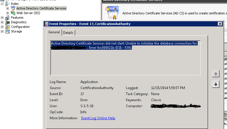Active Directory Certificate Services Service Can Not Start