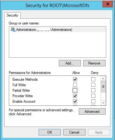 Server 2012 R2 wmi access to root/MicrosoftDfs