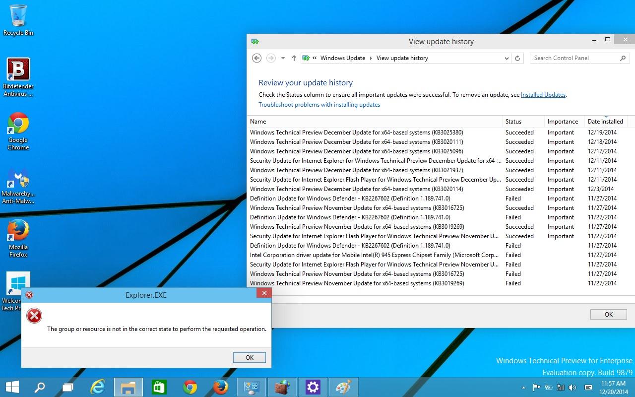 Explorer exe error still exits even when Windows 10 Build 9879