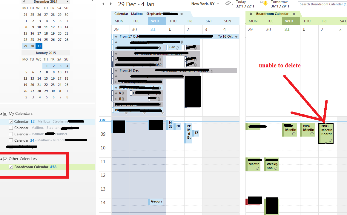 User unable to delete calendar event