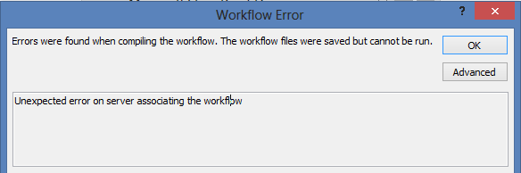 Unexpected error on server associating the workflow