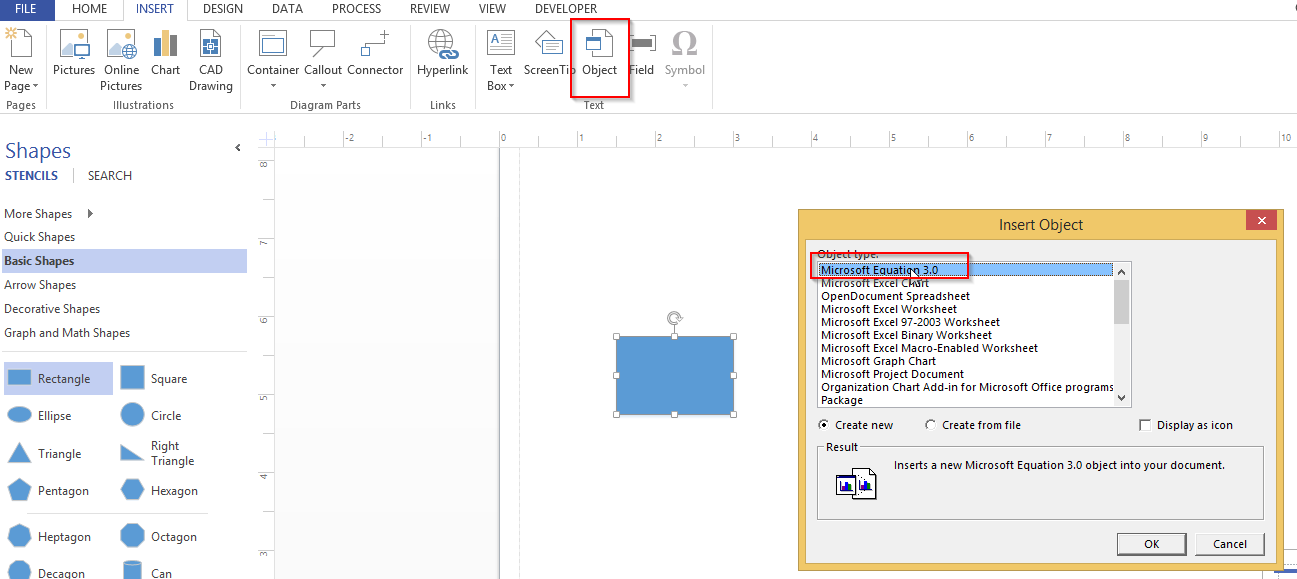Equations in Visio 2013