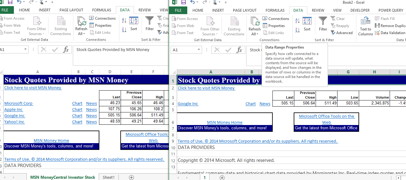 Google Finance Stock Quotes In Excel: Problem With 'MSN MoneyCentral Investor Stock Quotes' In Excel