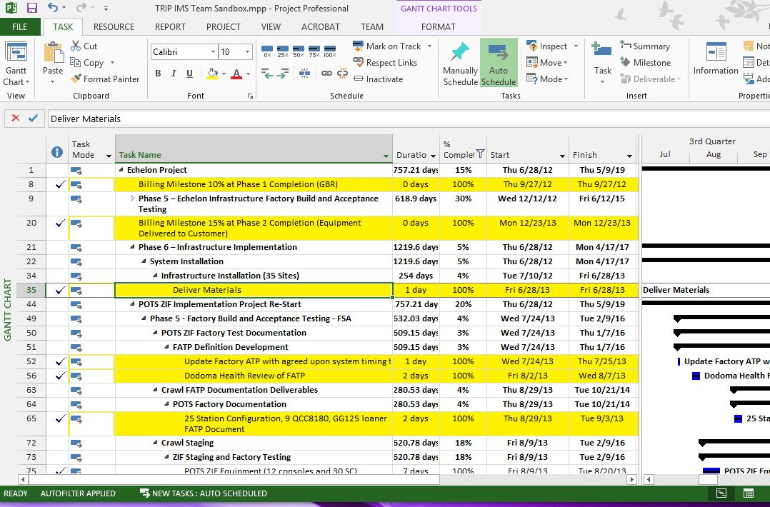 MS Project completed tasks highlighted