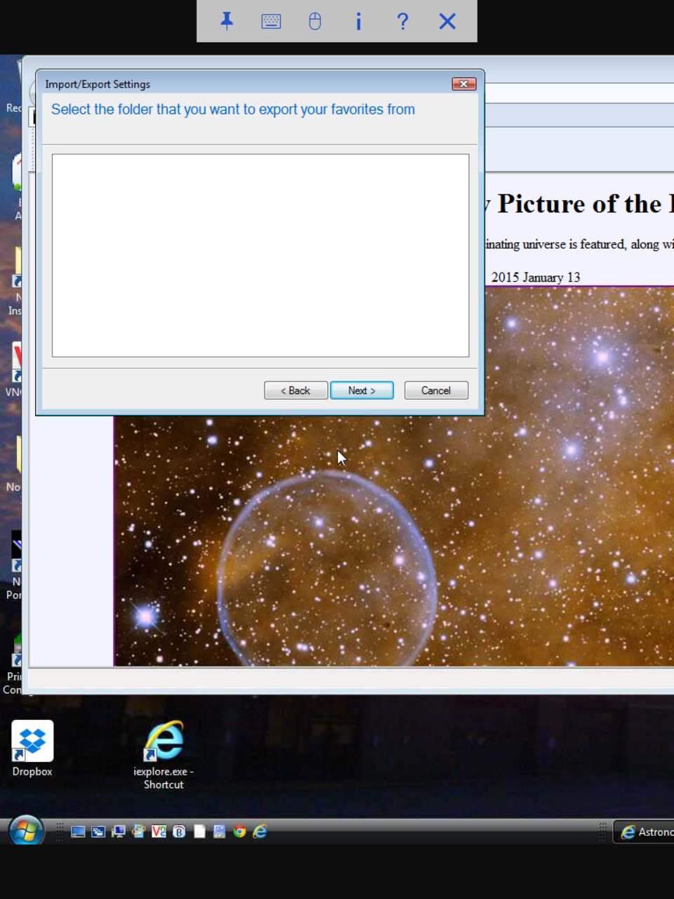 Blank screen looking for what was given in previous screen.  Perhaps IE9 can't find it either.