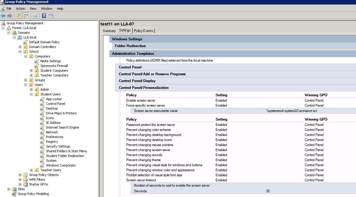 This is a picture of the gpo settings that should be applied to the