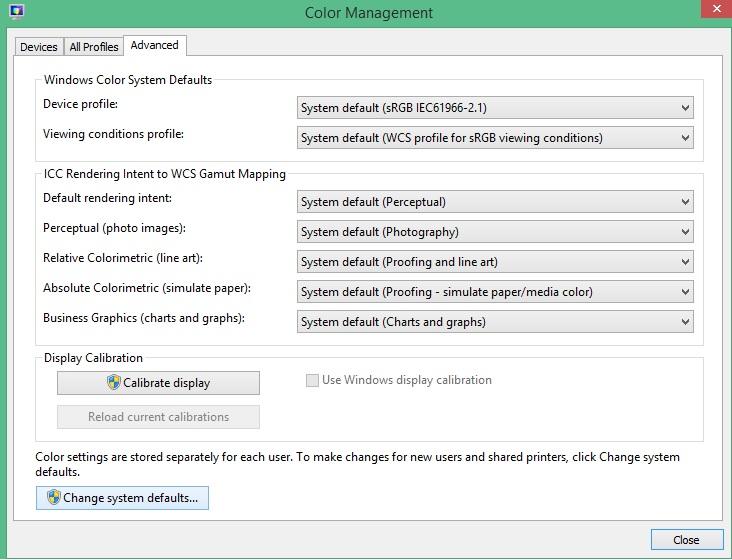 Restore Windows 8 1 to default screen colors