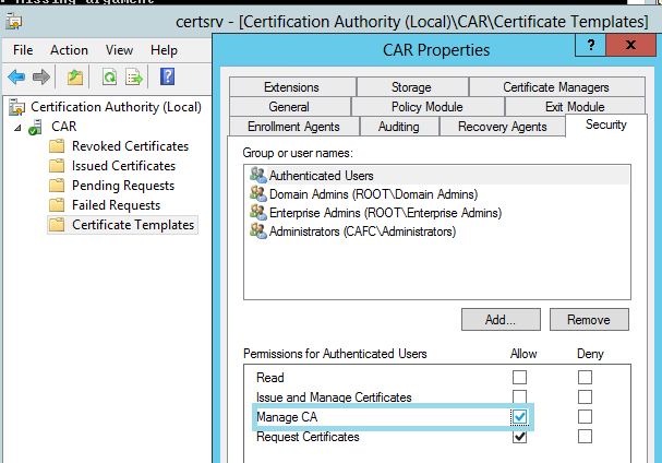 Active Directory Certificate Services Duplicated Certificates Missing