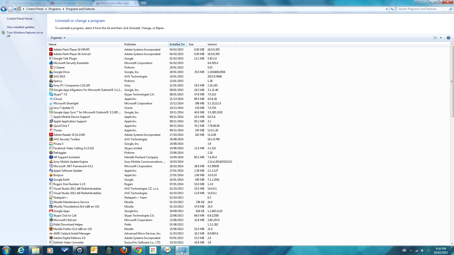 List of installed programs - latest first.