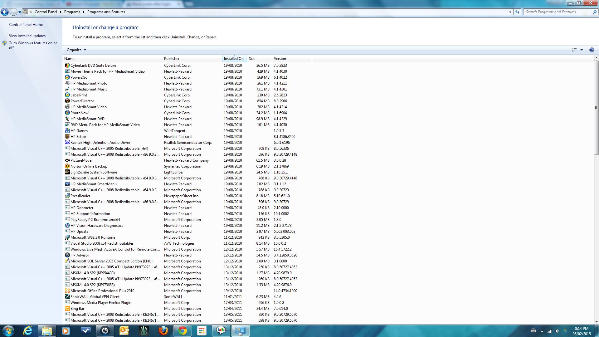 List of installed programs - earliest first.