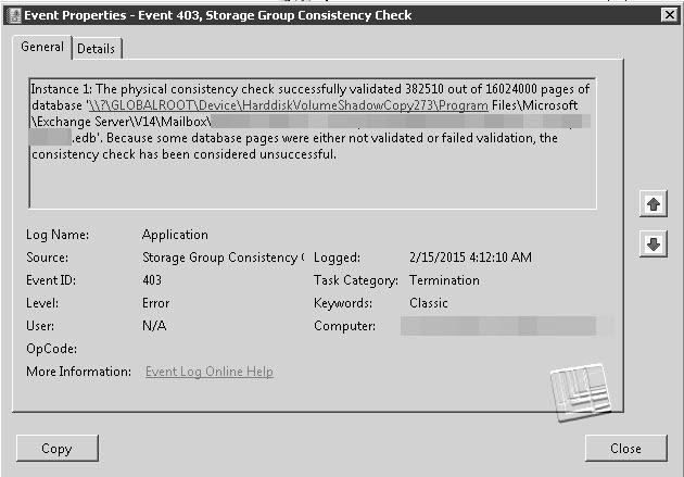 Event id 9782 exchange 2010 vss writer service
