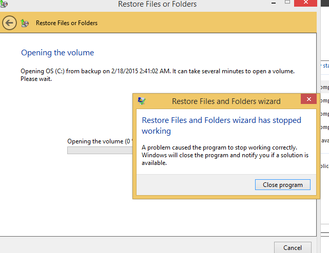 Restore Files and Folders wizard has stopped working