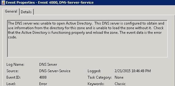 dns server service event id 4000